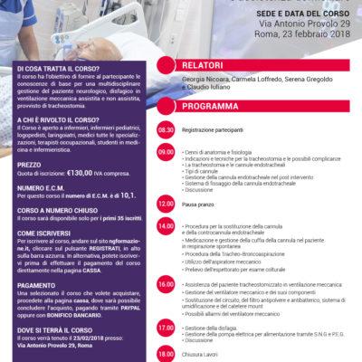 Corso di Terapia intensiva Roma 23 febbraio 2018